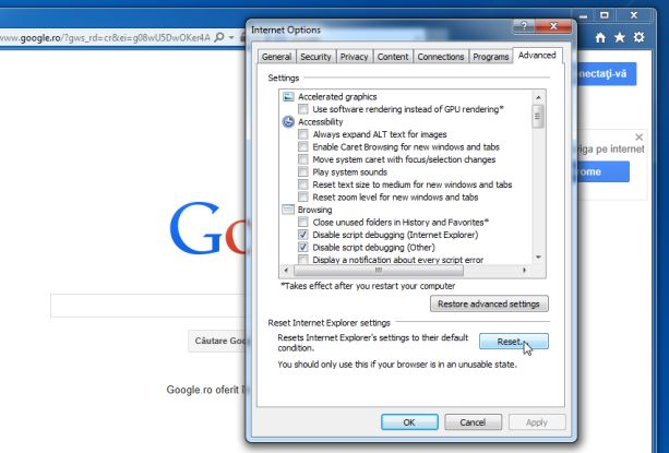 Reset Internet Explorer Default Settings