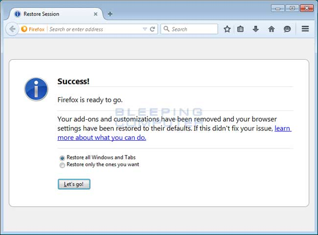 Remove Secure Search Extension from Mozilla Firefox
